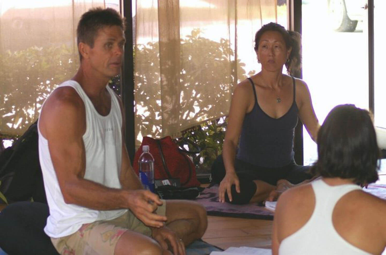 An image of yoga teachers James Kigar and Judy Weaver leading a 200 hour teacher training event.